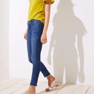 LOFT modern skinny crop frayed hem stat print jean